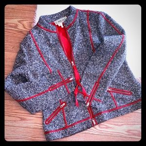Wool Black/White Specked W/ Red Trim Blazer Jacket